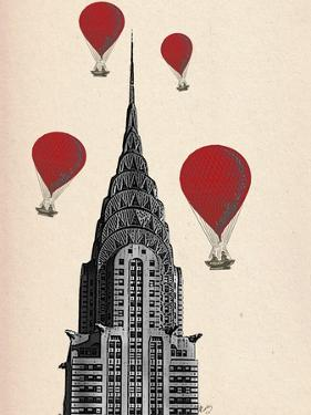 Chrysler Building and Red Hot Air Balloons by Fab Funky