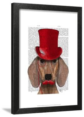 Dachshund With Red Top Hat and Moustache by Fab Funky