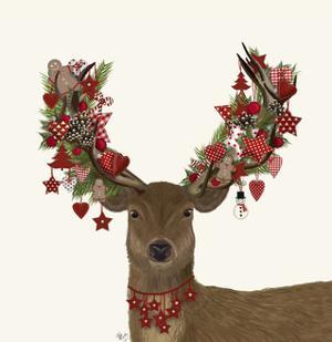 Deer, Homespun Wreath by Fab Funky