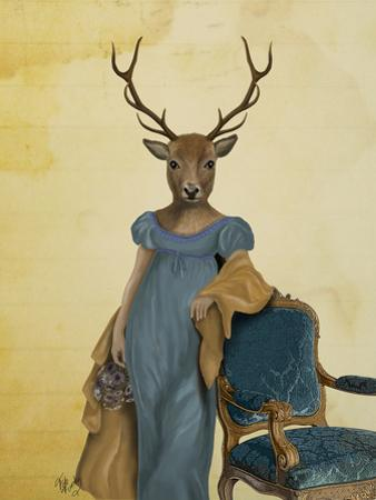 Deer in Blue Dress by Fab Funky