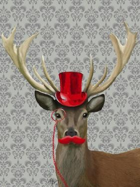 Deer With Red Hat and Moustache by Fab Funky