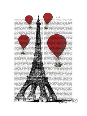 Eiffel Tower and Red Hot Air Balloons by Fab Funky