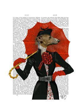 Elegant Greyhound and Red Umbrella by Fab Funky