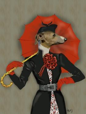 Elegant Greyhound and Red Umbrella by Fab Funky