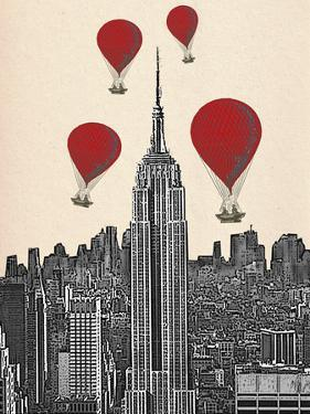 Empire State Building and Red Hot Air Balloons by Fab Funky