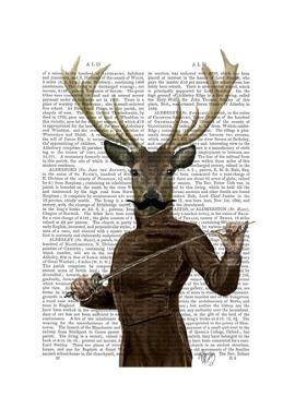Fencing Deer Portrait by Fab Funky