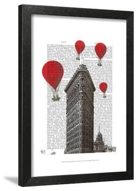 Flat Iron Building and Red Hot Air Balloons by Fab Funky