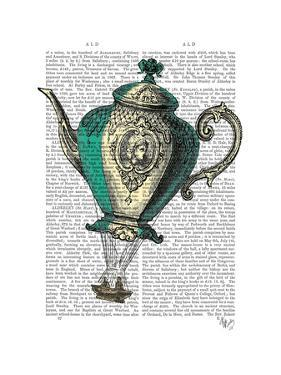 Flying Teapot 1 Green and Yellow by Fab Funky