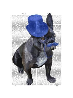French Bulldog With Blue Top Hat and Moustache by Fab Funky