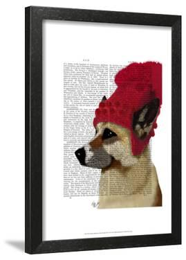 German Shepherd in Red Woolly Hat by Fab Funky