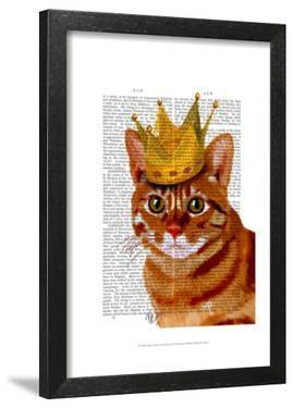 Ginger Cat with Crown Portrai by Fab Funky