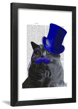 Grey Cat With Blue Top Hat and Blue Moustache by Fab Funky
