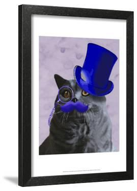 Grey Cat With Blue Top Hat and Moustache by Fab Funky