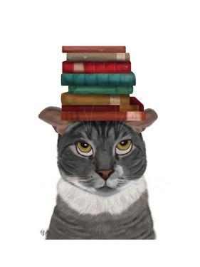 Grey Cat with Books on Head by Fab Funky