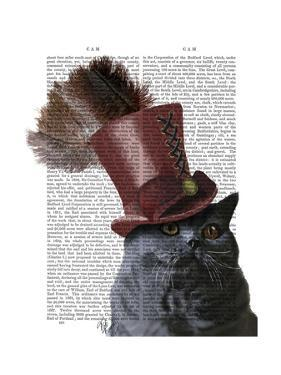 Grey Cat with Steampunk Top Hat by Fab Funky