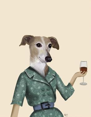 Greyhound Wine Snob by Fab Funky