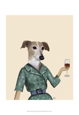 Greyhound Wine Snob by Fab Funky