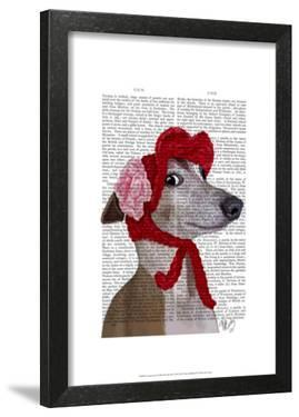 Greyhound with Red Woolly Hat by Fab Funky
