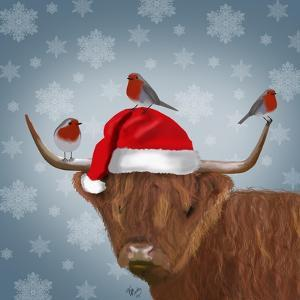Highland Cow and Robins by Fab Funky