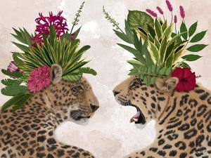 Hot House Leopards, Pair, Pink Green by Fab Funky