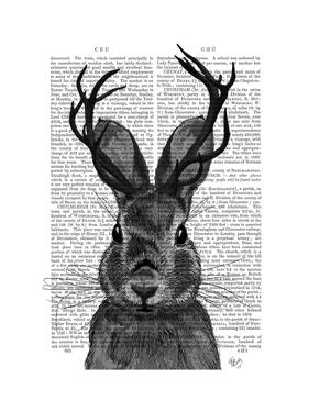Jackalope with Grey Antlers by Fab Funky