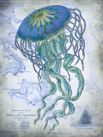 Jellyfish On image of Nautical Map by Fab Funky