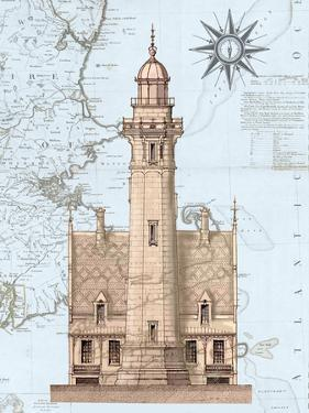 Lighthouse & House on Nautical Map by Fab Funky