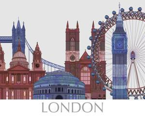 London Landmarks , Red Blue by Fab Funky