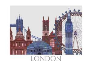 London Landmarks , Red Blue by Fab Funky