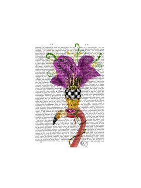 Mardi Gras Flamingo Portrait by Fab Funky