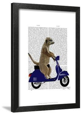 Meerkat on Dark Blue Moped by Fab Funky