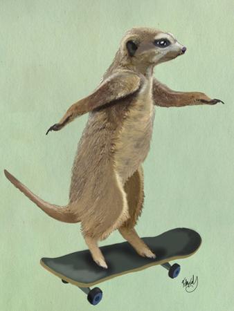 Meerkat On Skateboard by Fab Funky