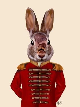 Military Rabbit in Red by Fab Funky