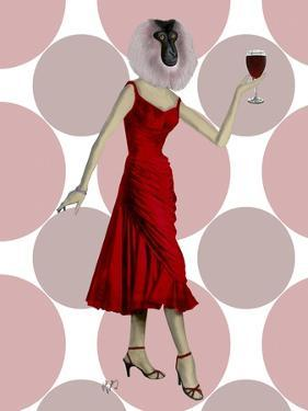 Monkey in Red Dress with wine by Fab Funky