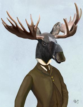 Moose In Suit Portrait by Fab Funky