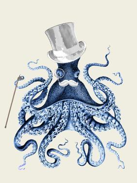 Octopus Print Blue on Cream b by Fab Funky