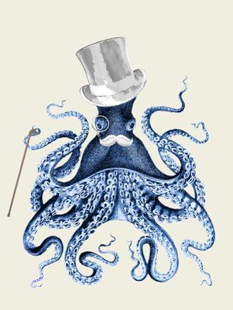 Octopus Print Blue on Cream b by Fab Funky