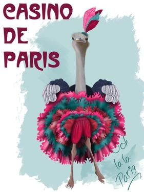 Ostrich, Can Can in Pink and Turquoise by Fab Funky