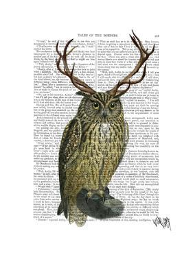 Owl with Antlers plain by Fab Funky