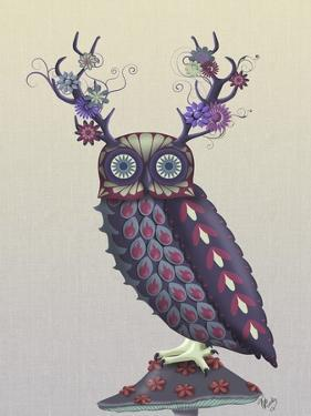 Owl with Psychedelic Antlers by Fab Funky