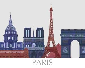 Paris Landmarks , Red Blue by Fab Funky