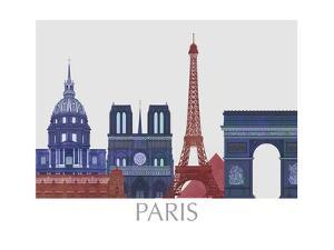 Paris Landmarks , Red Blue by Fab Funky