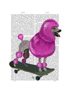Pink Poodle and Skateboard by Fab Funky