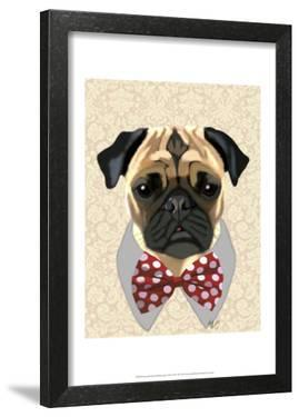 Pug with Red and White Spotty Bow Tie by Fab Funky