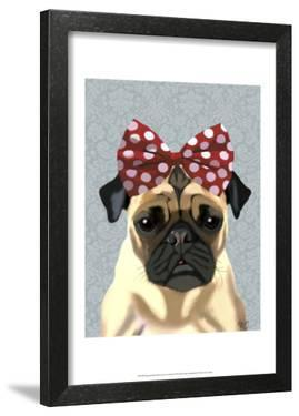 Pug with Red Spotty Bow On Head by Fab Funky