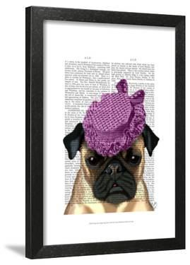 Pug with Vintage Purple Hat by Fab Funky
