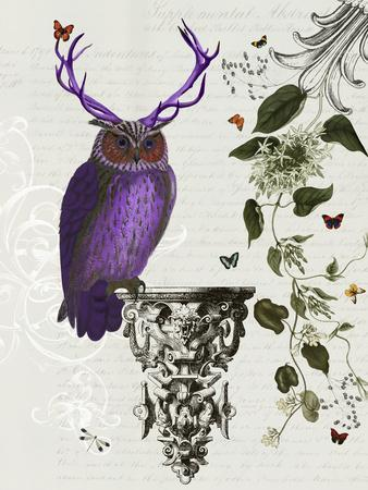 Purple Owl with Antlers