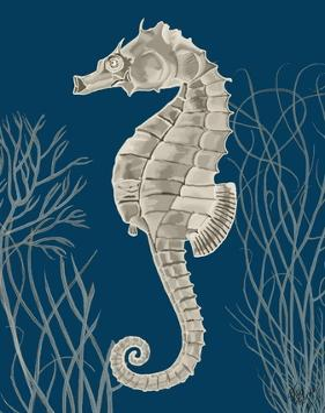 Silver Grey Seahorses on Blueb by Fab Funky