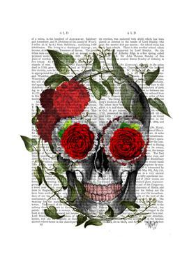 Skull with Roses and Vines by Fab Funky