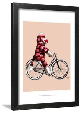 Sock Monkey on Bicycle by Fab Funky